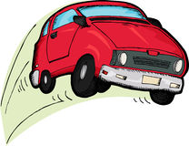 Reckless Red Car. Little red car cartoon bouncing over white background Royalty Free Stock Image