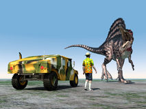Reckless Tourist. Computer generated 3D illustration with a Reckless Tourist and the Dinosaur Spinosaurus Royalty Free Stock Image