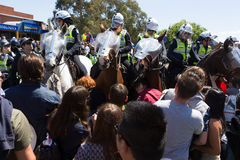 Reclaim Australia Rally - Melton. MELTON, VICTORIA/AUSTRALIA - NOVEMBER 2015: Anti Racism protesters violently clashed with reclaim australia groups rallying Royalty Free Stock Image