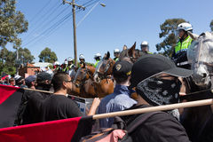 Reclaim Australia Rally - Melton. MELTON, VICTORIA/AUSTRALIA - NOVEMBER 2015: Anti Racism protesters violently clashed with reclaim australia groups rallying Royalty Free Stock Photos
