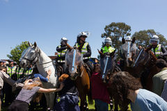 Reclaim Australia Rally - Melton. MELTON, VICTORIA/AUSTRALIA - NOVEMBER 2015: Anti Racism protesters violently clashed with reclaim australia groups rallying Royalty Free Stock Photography