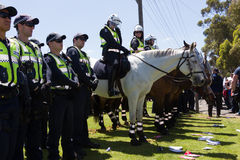 Reclaim Australia Rally - Melton. MELTON, VICTORIA/AUSTRALIA - NOVEMBER 2015: Anti Racism protesters violently clashed with reclaim australia groups rallying Stock Photo