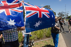 Reclaim Australia Rally - Melton. MELTON, VICTORIA/AUSTRALIA - NOVEMBER 2015: Anti Racism protesters violently clashed with reclaim australia groups rallying Stock Image