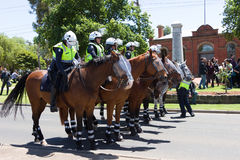 Reclaim Australia Rally - Melton. MELTON, VICTORIA/AUSTRALIA - NOVEMBER 2015: Anti Racism protesters violently clashed with reclaim australia groups rallying Royalty Free Stock Photo