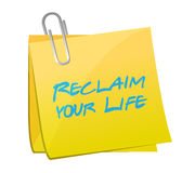 Reclaim your life post it illustration design Stock Photos