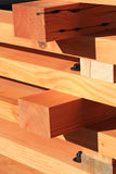Reclaimed fir timber trusses. Finished reclaimed fir timber trusses for timber frame roof construction Royalty Free Stock Image