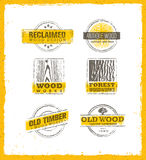 Reclaimed Wood Design Element. Creative Set Of Rustic Labels And Stamps For Custom Interior Workshop Company. Stock Photo