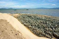 Reclamation project, fill up, construction plan, Vietnam. Reclamation project at Quy Nhon, Binh Dinh, Viet Nam, fill up sand on water to make construction plan Stock Images