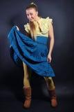 Reclame, blond zwarte achtergrond, prachtig, Stock Foto