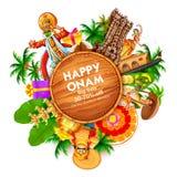 Reclame en bevorderingsachtergrond voor Gelukkig Onam-festival van Zuid-India Kerala stock illustratie