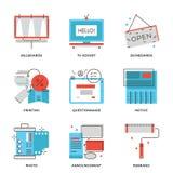 Reclame en marketing geplaatste lijnpictogrammen vector illustratie