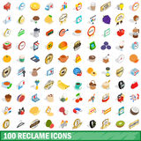 100 reclame icons set, isometric 3d style. 100 reclame icons set in isometric 3d style for any design vector illustration Royalty Free Stock Photography
