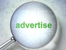 Reclameconcept: Adverteer met optisch glas vector illustratie