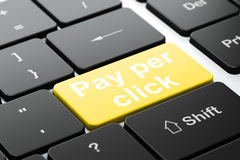 Reclameconcept: Betaal per Klik op de achtergrond van het computertoetsenbord Stock Fotografie