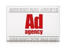 Reclameconcept: de Advertentieagentschap van de krantenkrantekop Stock Afbeelding