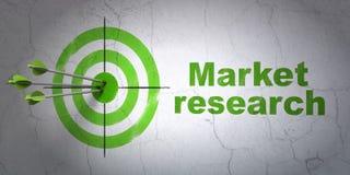 Reclameconcept: doel en Marktonderzoek naar muurachtergrond Royalty-vrije Stock Foto