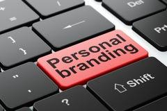Reclameconcept: Het persoonlijke Brandmerken op de achtergrond van het computertoetsenbord Royalty-vrije Stock Afbeeldingen