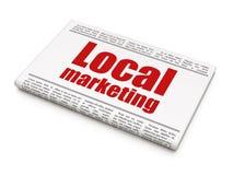 Reclameconcept: krantenkrantekop Lokale Marketing stock afbeelding