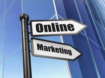 Reclameconcept: Online Op de markt brengend bij de Bouw van achtergrond Stock Fotografie