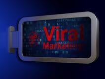 Reclameconcept: Virale Marketing en Hoofd met Toestellen op aanplakbordachtergrond Royalty-vrije Stock Fotografie