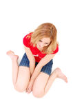 Reclinación de la muchacha Fotos de archivo
