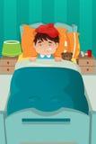 Reclinación enferma del niño Imagen de archivo