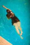 Reclinación flotante de la mujer en agua de la piscina Foto de archivo