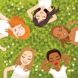 Reclinación multirracial de las mujeres stock de ilustración