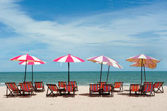 Recline chair on the beach royalty free stock photography