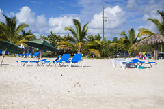 Recliners on a beach Royalty Free Stock Photography