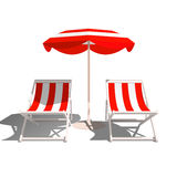 Recliners and Beach umbrella on a white background. Vector Illustration royalty free illustration