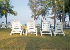 Beach beds. Reclining beach beds on the lawn Stock Photos