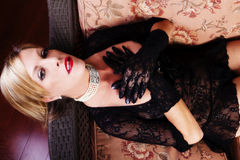 Reclining Blond Caucasian Woman Black Lace Dress Royalty Free Stock Photography