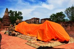 Reclining Budda of Phutthaisawan Temple Ayutthaya Royalty Free Stock Photos