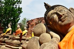 Reclining Budda of Phutthaisawan Temple Ayutthaya Stock Photos