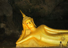 Reclining Buddha. In buddhist temple in Phuket island in Thailand Royalty Free Stock Photography