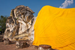 The Reclining Buddha. Of wat Lokayasutharam, Ayutthaya Thailand Stock Photos