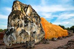 Reclining Buddha. At Wat Lokayasutharam, Ayutthaya, Thailand Stock Photos