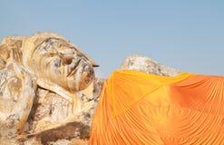 Reclining buddha. Statue of reclining buddha in ayutthaya,Thailand Royalty Free Stock Image