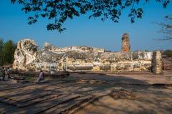 Reclining Buddha. Old Reclining Buddha in Ayutthaya Stock Image