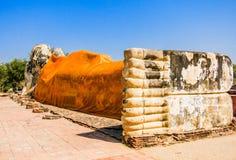Reclining Buddha, Ayutthaya, Thailand. Reclining buddha, famous historical temple in Atutthaya, Thailand stock photo