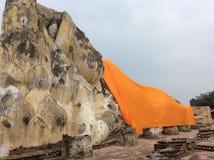 Reclining Buddha at Ayutthaya Thailand. Reclining Buddha the world heritage in Ayutthaya Royalty Free Stock Photography