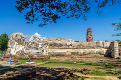 Reclining Buddha Ayutthaya total view with leafs and beautiful s Stock Images