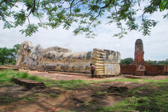 Reclining Buddha. The big outdoor Reclining Buddha at Ayutthaya Royalty Free Stock Photo