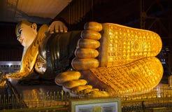 Reclining Buddha. The Reclining Buddha in Chauk Htat Kyi Pagoda, Yangon, Myanmar, Southeast Asia Stock Photos