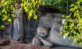 Reclining Buddha, Gal Vihara, Polonnaruwa, Sri Lanka. The Gal Vihara, also known as Gal Viharaya and originally as the Uttararama, is a rock temple of the Buddha Royalty Free Stock Images