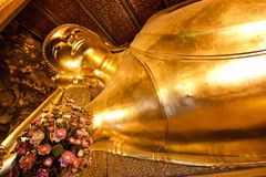Reclining Buddha gold statue ,Wat Pho, Bangkok, Thailand Stock Images