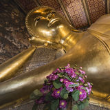 Reclining Buddha gold statue ,Wat Pho, Bangkok, Thailand Stock Photo
