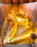 Reclining Buddha Gold Statue at Wat Pho, Bangkok, Thailand Stock Photos