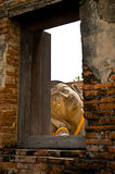 Reclining Buddha head window view Stock Photo